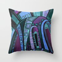 neon Throw Pillows featuring NEON by Deyana Deco