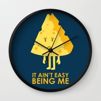 sayings Wall Clocks featuring It ain't easy being cheesy by Picomodi