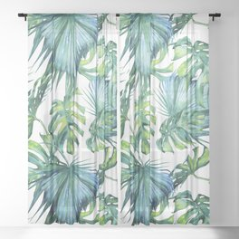 Blue Jungle Leaves, Monstera, Palm #society6 Sheer Curtain