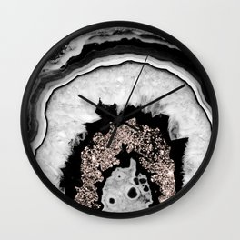 Gray Black White Agate with Rose Gold Glitter #1 #gem #decor #art #society6 Wall Clock