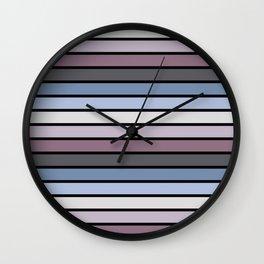 Multicolored Stripes: Shades of Purple Wall Clock
