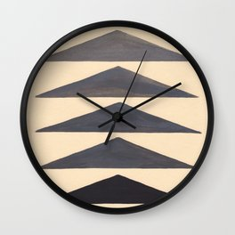 Gray Geometric Triangle Pattern With Black Accent Wall Clock