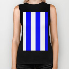 Wide Vertical Stripes - White and Blue Biker Tank