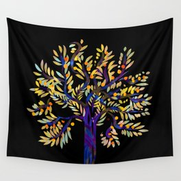 Single Tree on black Wall Tapestry