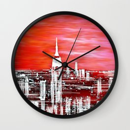 Abstract Red In The City Design Wall Clock