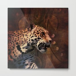 western country rustic wild leopard Metal Print