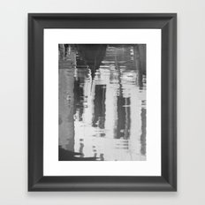 Venice canal in black and white Framed Art Print