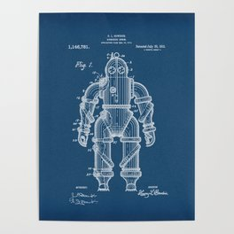 Submarine Armor Patent Blueprint 1915 Poster