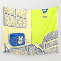 tv Wall Tapestries featuring TV time by Veronique de Jong · illustration