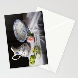 Delft blue china and apples still life Stationery Cards