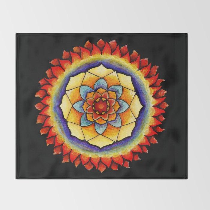Sun and Flame Mandala Throw Blanket