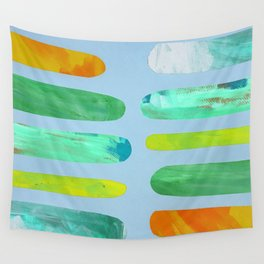 Green Pegs in Blue Wall Tapestry