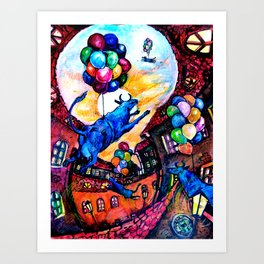 Cows Fly West Art Print