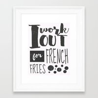 french fries Framed Art Prints featuring French Fries by Emily Vickery
