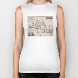 Vintage Map of The Caribbean (1650) Biker Tank