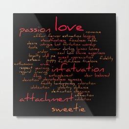 Romantic Handwritten Love Word Cloud Red Text Metal Print