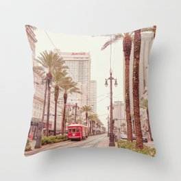 Tram in Nola Throw Pillow