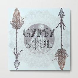 Gypsy Soul - Boho Mountains Tribal Arrows Hippy Mandala Metal Print