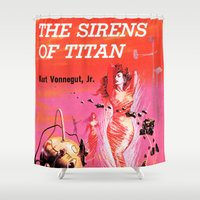 titan Shower Curtains featuring Vonnegut -  The Sirens of Titan by Neon Wildlife