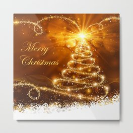 Merry Christmas Typography, Sparkling Gold Glitter Tree and Snowflakes Metal Print