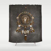 dreamcatcher Shower Curtains featuring DreamCatcher by Paula Belle Flores