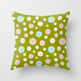 White, blue and pink flowers over green background Throw Pillow