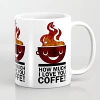 coffe Mugs featuring Coffe, love coffe by Nayade Limnatide