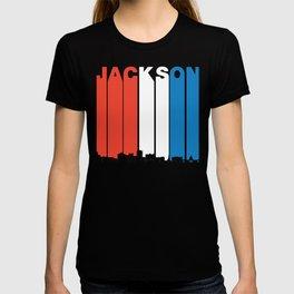 Red White And Blue Jackson Mississippi Skyline T-shirt