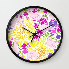 Cat Bouquet large white Wall Clock