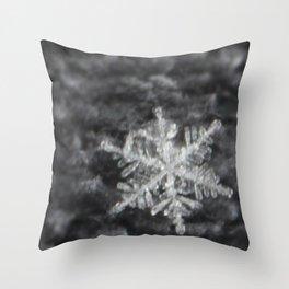 Snowflake on fuzzy sweater Throw Pillow