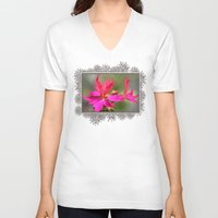 grafitti V-neck T-shirts featuring Zonal Stellar Geranium named Grafitti Violet by JMcCombie