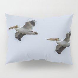 Pair of American White Pelicans in Flight Pillow Sham