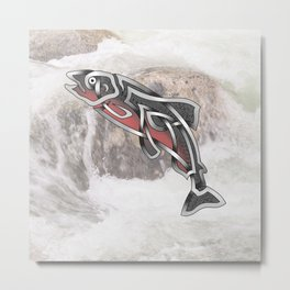 Celtic Knot Salmon Metal Print