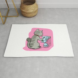 Cats Battling Toilet Paper Rolls Rug