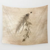 bohemian Wall Tapestries featuring Bohemian Feather by LouJah