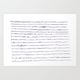 Ocean asemic calligraphy for unique home decoration Art Print