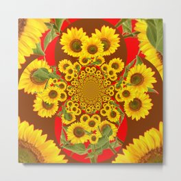 BROWN-RED SUNFLOWERS ABSTRACT Metal Print