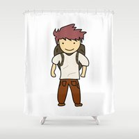 backpack Shower Curtains featuring Backpack by justang8
