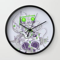 hippy Wall Clocks featuring Hippy robot by Mathijs Vissers