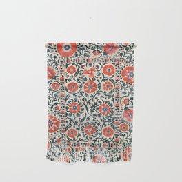 Shakhrisyabz Suzani  Uzbekistan Antique Floral Embroidery Print Wall Hanging