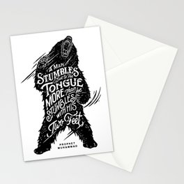 """Prophet Muhammad - """"A man stumbles due to his tongue more than he stumbles with his two feet."""" Stationery Cards"""