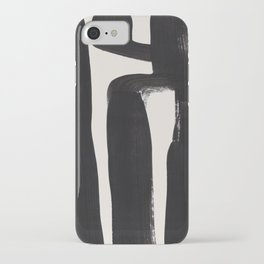 Mid Century Modern Minimalist Abstract Art Brush Strokes Black & White Ink Art Ancient Stripes iPhone Case