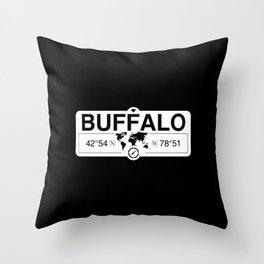 Buffalo New York GPS Coordinates Map Artwork with Compass Throw Pillow
