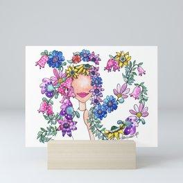 Flowers in Her Hair Mini Art Print