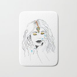 Fashion Artwork woman with yellow eye shadow Bath Mat