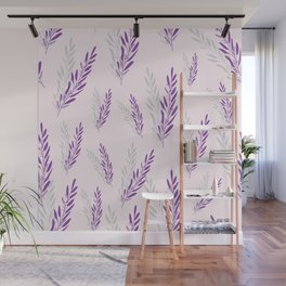 Fragrant lavender flowers in purple arranged in an endless pattern. Wall Mural