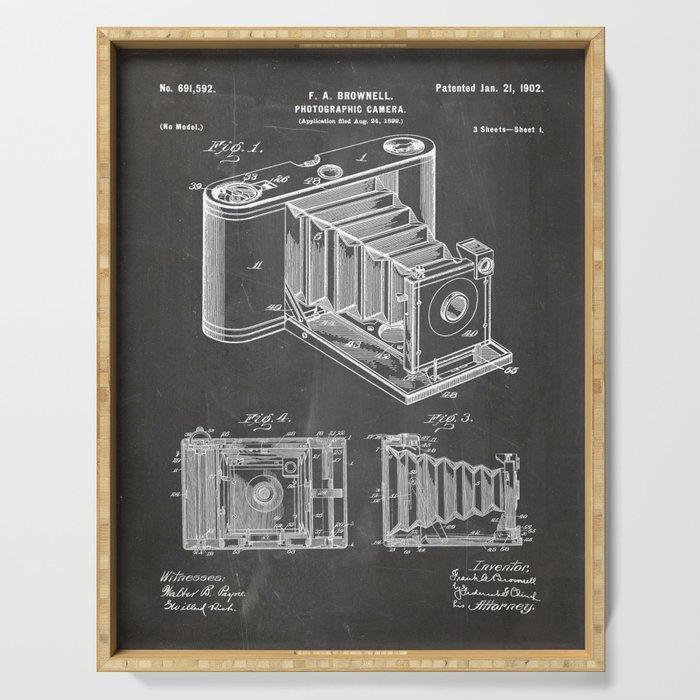 Folding Camera Patent - Photography Art - Black Chalkboard Serving Tray