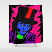 willy wonka Shower Curtains featuring Pop Art Willy by saraz0mb13