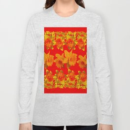 CHINESE RED GOLDEN DAFFODILS GARDEN ART DESIGN Long Sleeve T-shirt