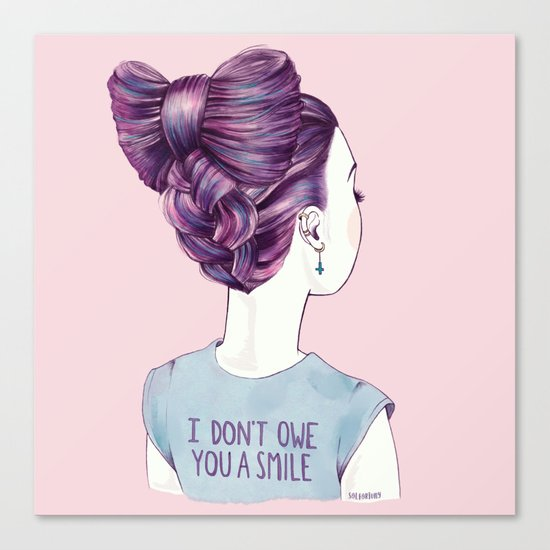 i don't owe you a smile Canvas Print